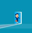 businesswoman opening door concept cute business vector image vector image