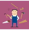 Carpenter man and professional tools vector image vector image