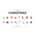 christmas greeting card with lettering icons vector image