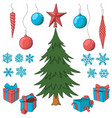 christmas tree with set of decorative elements vector image