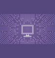 computer icon over computer chip moterboard vector image vector image