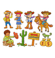 cowboy Wild West child cartoon vector image vector image