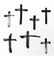 crucifix cross hand drawn paint brush icon vector image