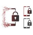 dissipated dot halftone lock smartphone icon vector image vector image