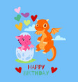 dragons happy birthday card banner vector image vector image