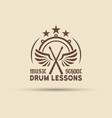 drum school emblem with wings drumsticks vector image vector image