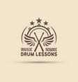 drum school emblem with wings drumsticks vector image