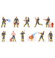 firefighter characters emergency service watering vector image vector image