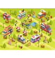 Food Trucks Outdoors Isometric Composition Poster vector image vector image