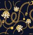 golden chains bold floral blue pattern fashion vector image vector image