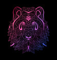 hand drawn neon wolf vector image