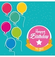 happy birthday to you flying balloons label vector image vector image