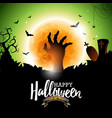happy halloween with bats zombie hand and moon on vector image vector image
