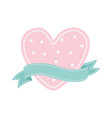 happy valentines day pink dotted heart vector image