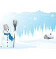 Hut and snowman vector image vector image
