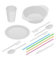 isometric white plastic tableware and napkins vector image vector image