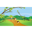 Kids playing in the hills vector image vector image