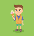 little caucasian boy holding an ice cream cone vector image