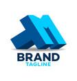 modern letters tm or mt logo vector image
