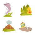 natural cataclysm icons set tsunami wave tornado vector image