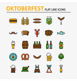 Oktoberfest Beer Colorful Flat Line Icons Set vector image vector image