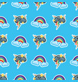 pattern rainbow with clouds multicolored vector image vector image