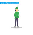 people with green sweater character vector image