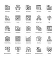 project management line icons set 14 vector image vector image