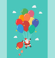 santa claus hanging on balloon vector image vector image