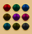set color metallic golden buttons vector image vector image