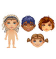 set of drawn animated children isolated on white vector image vector image