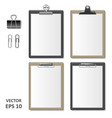 set of realistic clipboards with blank white paper vector image vector image