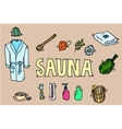 Set of sauna icons vector image