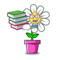 student with book daisy flower mascot cartoon vector image