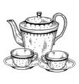 tea set utensil engraving vector image