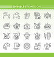 tea simple black line icons set vector image vector image