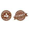 turkey stamp seals with grunge texture in coffee vector image vector image