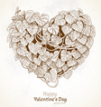 Vintage Valentine card with heart from leaves vector image vector image