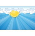 White clouds and Sun over blue sky vector image vector image