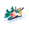 winter activities happy family riding sledge down vector image vector image