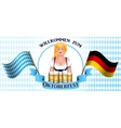 Beautiful blonde girl with a beer Oktoberfest vector image