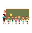 happy teacher with kids in school teaching vector image
