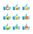 Set of Emoticons thumb up symbol with Emoji vector image
