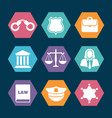 law justice and police icons set vector image