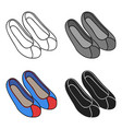 korean traditional shoes icon in cartoon style vector image