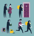 set of thief robber burglar trying to steal money vector image