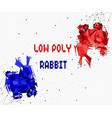 abstract of low poly red and blue rabbit with poin vector image vector image