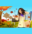 autumn girl walking in the park vector image