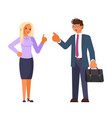 business characters discuss business development vector image
