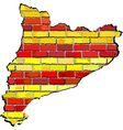 Catalonia map on a brick wall vector image vector image